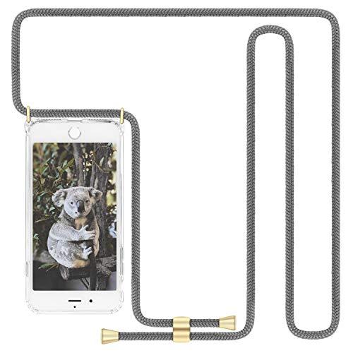 Imikoko Handykette Hülle für iPhone 7 Plus/8 Plus (Nicht für iPhone 7 / iPhone 8) Necklace Hülle mit Kordel zum Umhängen Silikon Handy Schutzhülle mit Band - Schnur mit Hülle zum umhängen (Grau)