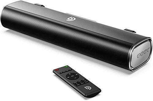 BOMAKER Mini Barra de Sonido 2.0 Canales para TV/PC, 50W Mini Soundbar Portátil Inalámbrico, Altavoces Bluetooth 5.0 con Control Remoto, Soporte Conexiones de Ópticos/USB/AUX
