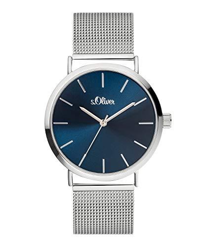 s.Oliver Damen Analog Quarz Uhr mit Edelstahl Armband SO-3886-MQ, Silber-Dunkelblau
