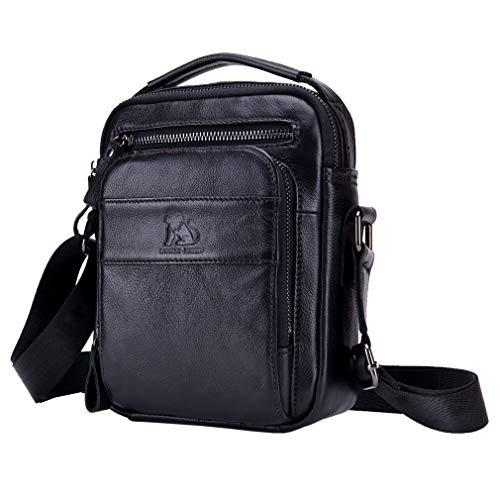 Bolso bandolera de cuero para hombre, bolso bandolera de negocios para viajes al aire libre, maletín pequeño, cartera para teléfono,...