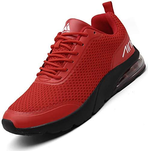 Mishansha Luftkissen Laufschuhe Herren Sportschuhe rutschfeste Dämpfung Turnschuhe Damen Joggingschuhe Outdoor Straßenlaufschuhe Rot,40 EU