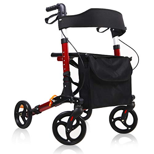 Give Me Medical Rollator Walker, 4 Wheel Foldable Compact Rolling Walker with Seat, Bag and 8 inch Wheels (Red)