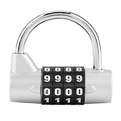 CHICIRIS Combination Padlock, 4-digit Password Cabinet Locks Child Gym Lockers Password Lock, Beautiful Appearance Can Be Used Alone for Protection(Silver)