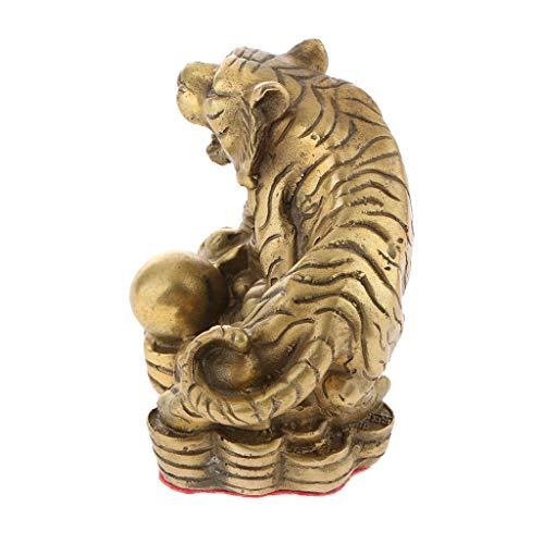 Baoblaze China Fengshui Decor Wealth Money Latón 12 Estatuas de Animales del Zodiaco Latón Puro - Tigre, Individual