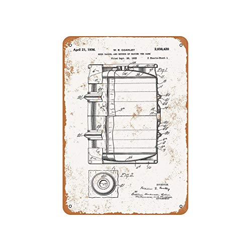 Fhdang Dekor Vintage Muster 1938 Bierfass Patent Vintage Look Metallschild Aluminium Schild, metall, multi, 6x9 inches