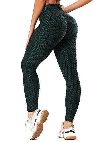 INSTINNCT Damen Slim Fit Hohe Taille Sportshort Lange Leggings mit Bauchkontrolle Dunkelgrün M