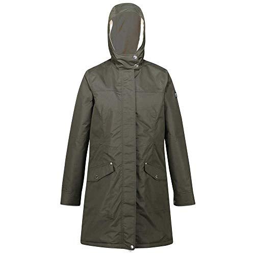 Regatta Women's Rimona Waterproof Breathable Taped Seams Insulated Lined Hooded Jacket, Dark Khaki, 12