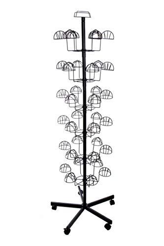 Duży stojak do sprzedaży do 36 czapek, wysokość 1,95 m, obrotowy stojak na czapki, stojak na kapelusze, stojak na prezenty, z 6 poziomami, 6 główkami na piętro, stojak na perukę