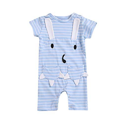 YUAN YUAN Mädchen Kleid, Kinder Kinder Baby Kurze Ärmel Cartoon Streifen Kaninchen Pocket Strampler Overall