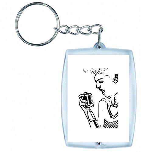 Druckerlebnis24 Schlüsselanhänger - Karaoke- Punk- Sänger - Keyring - Taschenanhänger - Schlüsselring