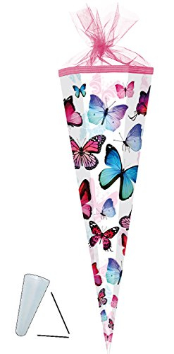 alles-meine.de GmbH Schultüte -  Schmetterlinge - bunt  - 35 cm - rund - mit Tüllabschluß - Zuckertüte - mit / ohne Kunststoff Spitze - für Mädchen - Schmetterling & Blumen / B..