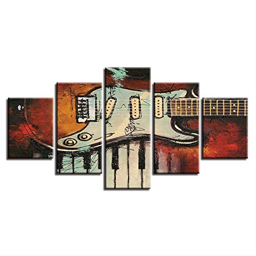 Modulaire decoratie kamer muurschilderen 5 stuks muziekinstrumenten gitaar en piano knoppen foto's canvas Hd Prints Art Poster 40x60cmx2,40x80cmx2,40x100cmx1 Met frame.
