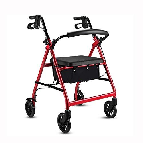 SONGYU Faltbare Gehhilfe aus Aluminium, Gehhilfe, Rollator, Einkaufswagen mit Sitz und Handbremse, für ältere Erwachsene Gehhilfe