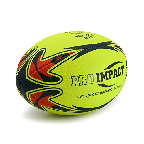 Pro Impact Match Rugby Ball - Professional Grade Ball, Heavy Duty & Durable - Ideal for Long Matches & Gameplay (Neon, Size 5)