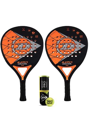 Dunlop Rapid Control 2.0 - Juego de raquetas de pádel (incluye fundas protectoras y 3 pelotas Dunlop Pro Padel
