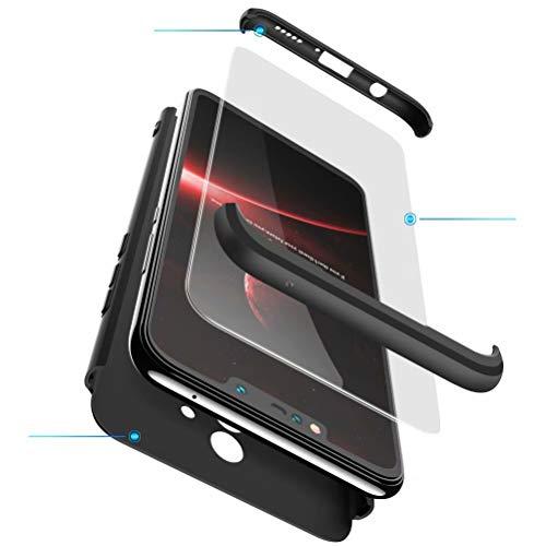 BESTCASESKIN Cover per Cellulare Xiaomi Redmi S2/Y2 in PC Rigida con Vetro Temperato Struttura 3-in-1 Finitura Opaca Protettiva per Corpo Intero Antiurto AntiGraffio – Nero