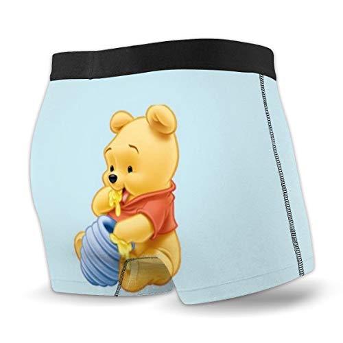 EWRVSXZ Winnie Pooh Herren Boxer Slips Unterhosen Print Design mit weichem Stretchstoff und elastischem Gürtel Gr. S, Schwarz