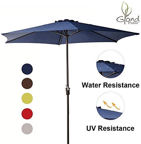 Grand patio 9 FT Aluminum Patio Umbrella, UV Protected Outdoor Umbrella with Easy Crank, Blue