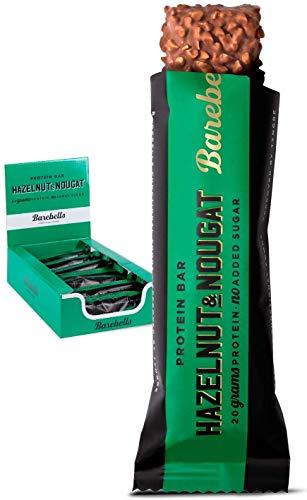 Barebells Proteinriegel Hazelnut & Nougat 55g x 12 Proteinreich Kohlenhydratarm Kaum Zucker 20 Gramm Protein pro 55-Gramm-Riegel Köstliche Proteinriegel für Muskelaufbau und -regeneration