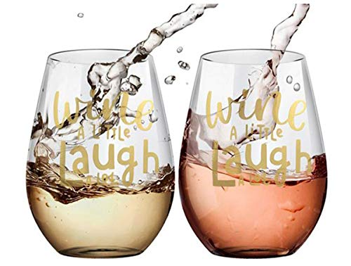 Custom Personalized Stemless Wine Glass - Wine a Little, Laugh a Lot Set of 2 20oz by Amallino