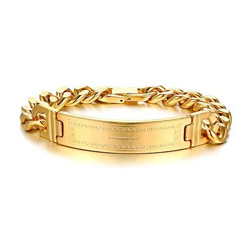 GLJIJID Exquisite Chevron-Kreuz-Armband, Herren Persönlichkeit Gold Design, 21 * 1,2 cm Gold