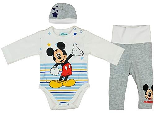 Baby Set Disney Mickey Maus Motiv Langarmbody Hose Mütze für Junge 56 62 68 74 3 TLG Sets Top Bekleidung, Größe: 62