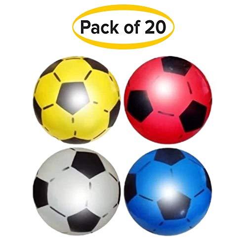 SourceDIY Ballon de football 22,5cm dégonflé pour enfant Convient pour un usage intérieur et extérieur, pour l'école, les fêtes d'anniversaire, les kermesses, livré dans des couleurs assorties, Pack of 50