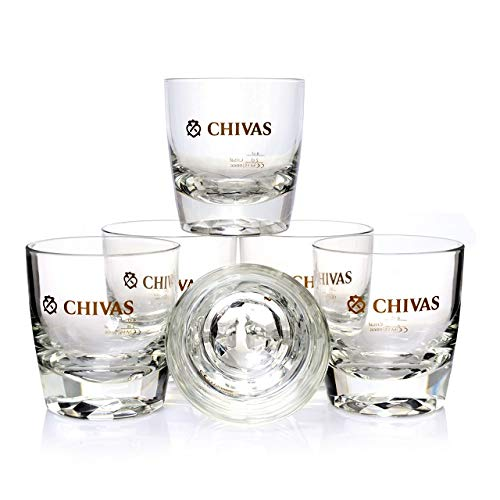 Chivas Whisky Tumbler mit Diamantenmuster im Boden 6X
