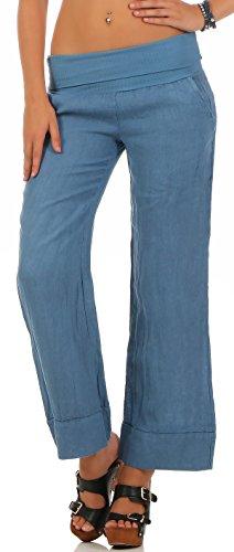 Malito Donna Pantaloni de Lino Classico-Stile Pantaloni Estivi 8064 (XXL, Blu)