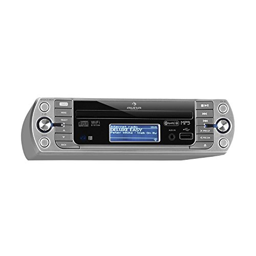 auna KR-500 CD Internetradio Unterbau-Radio (Internet Radio, CD/MP3-Player, WiFi, AUX, USB, Spotify Connect, Network-Streaming, LCD-Display, Bedienung per App und Fernbedienung) Silber