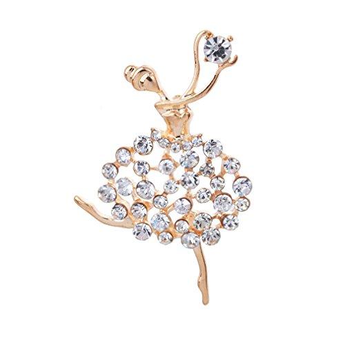 YAZILIND Mujeres joyería de Lujo del Hueco del Rhinestone Ballet Regalo Pin Broche de Oro Jewerly