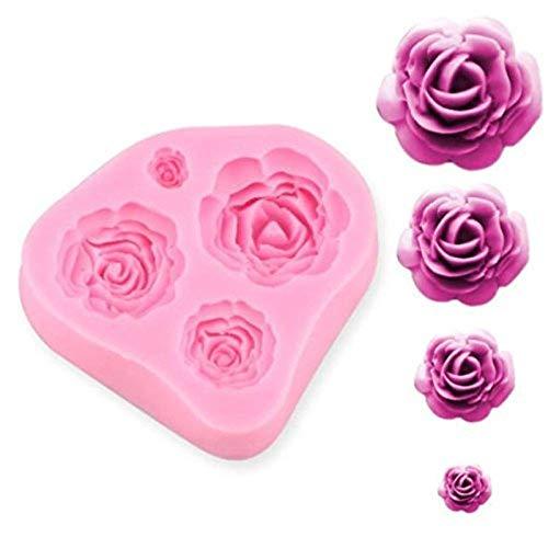 SUNKOOL Roses Flower Silicone Cake Mold Chocolate Sugarcraft Decorating Fondant Fimo Tools 4 Size Pink 1 Piece