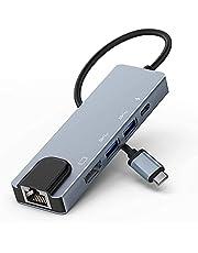 Lemorele Hub USB C 5 in 1 con Ethernet, Multipresa Adattatore da USB-C 4K a HDMI, 2 Porte USB, Porta di Ricarica PD Hub USB C da 100 W per MacBook PRO 2019, iPad Pro2020, XPS15 e Altro
