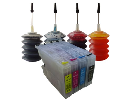 ND Brand Dinsink Refillable Ink Cartridge for Brother LC71 LC75 LC79 Ink Cartridges: MFC-J625DW MFC-J6510DW MFC-J6710DW MFC-J825DW MFC-J835DW+ 4X30ML ND Brand Bulk Refill Ink Specially Formulated for Brother - Cyan, Yellow, Magenta, and Black Color.The item with ND Logo!