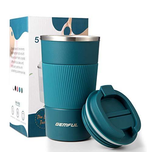 Thermobecher to Go Becher Kaffee Edelstahl 510ml Auslaufsicher Kaffeebecher mit Deckel Blau