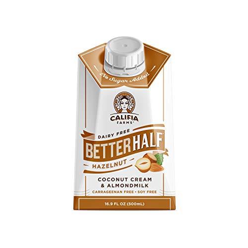 Califia Farms - Hazelnut Better Half Coffee Creamer, 16.9 Oz (Pack of 6)   Half and Half   Coconut Cream and Almond Milk   Non Dairy   Plant Based   Vegan   Keto  Sugar Free   Zero Carb   Shelf Stable