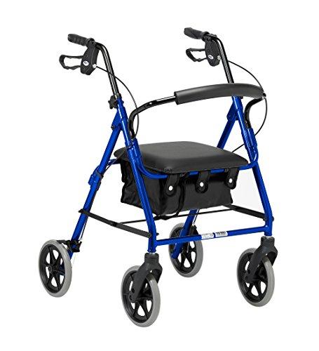 41Fw7e1CVEL - Rollator de ruedas livianas, andador de cuatro ruedas plegable con asiento acolchado, asas ergonómicas, bolsa de transporte, frenos bloqueables, ayudas para la movilidad, pequeño, azul
