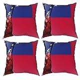 Sunzhenyu Samoa Flagge Kissenbezüge 4er Set Dekorative Wurfkissenbezüge 20x20 Quadratische Kissenbezüge Kissenbezug Kissenbezug für Couch Sofa Wohnzimmer
