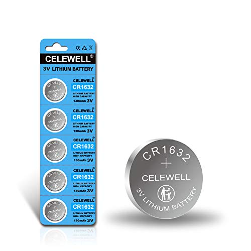 【5-Year Warranty】 CELEWELL CR1632 Battery Lithium 3v for Garmin Vivofit Jr Key Fob Replacement (5 Pack)