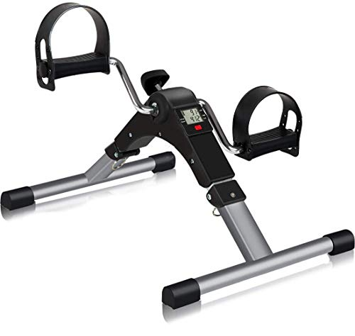 Inditradition Mini Pedal Exercise Cycle | Sitting Pedal Fitness Bike (with Digital LCD Display of Many Functions) - Black/Silver