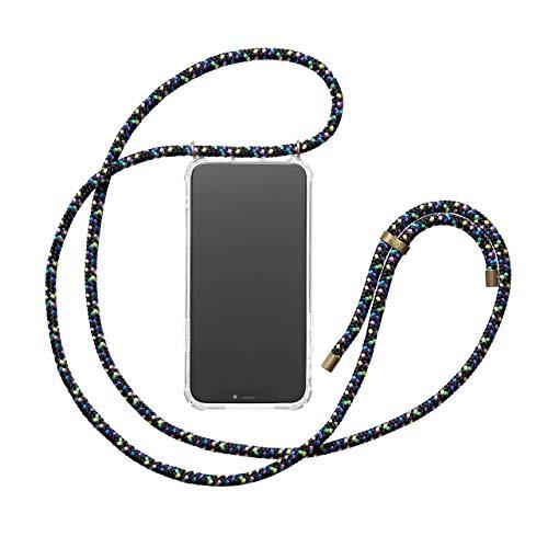 Preisvergleich Produktbild KNOK Handykette Kompatibel mit Huawei P20 Lite - Silikon Hülle mit Band - Handyhülle für Smartphone zum Umhängen - Transparent Case mit Schnur - Schutzhülle mit Kordel in Disco