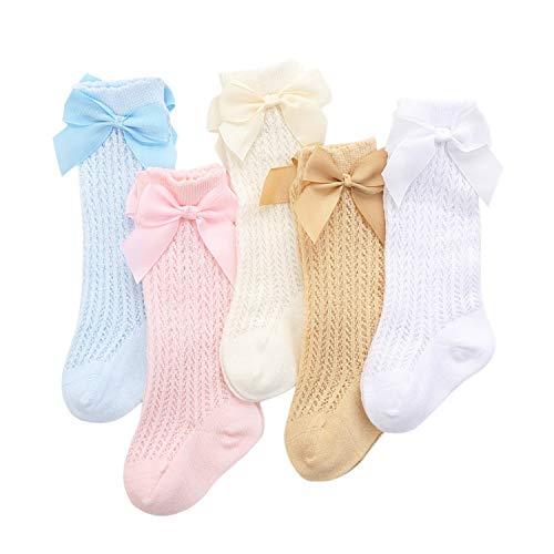XPXGMT - Juego de 5 calcetines de algodón hasta la rodilla, para bebé, niña, para uniforme escolar, de 0 – 3 años