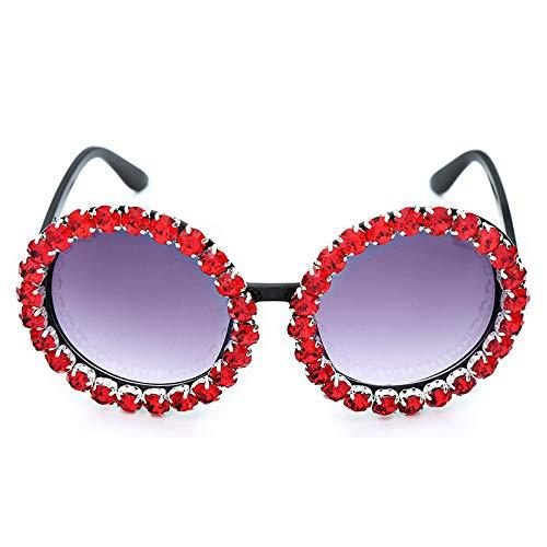 NJJX Gafas De Sol De Cristal Hechas A Mano Con Diamantes Para Mujer, Gafas Redondas De Lujo, Lentes De Espejo, Gafas De Sol De Verano Magníficas, Rojo