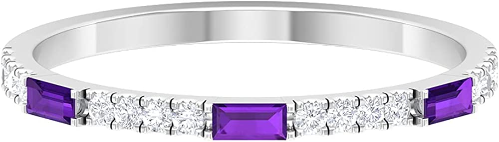 1/2 CT Baguette Cut Amethyst and Diamond Simple Stackable Ring (AAA Quality), 14K Solid Gold