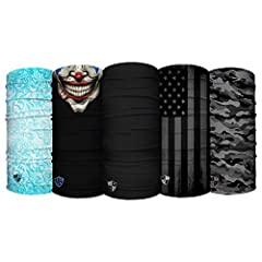 MULTIPLE PATTERNS AND MULTIFUNCTION: 12 plus different ways to wear for your adventures, daily life, or daily commute in windy, snowy or sunny conditions. Could be worn as a FACE SHIELD, WRISTBAND, HEADBAND, NECK GAITOR, FULL HOOD, SACARF BANDANA, DO...