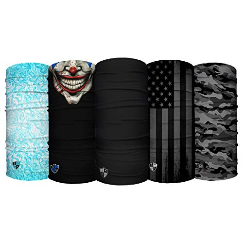 S A - UV Face Shield 5 Pack Multipurpose Neck Gaiter, Balaclava, Elastic Face Mask for Men and Women