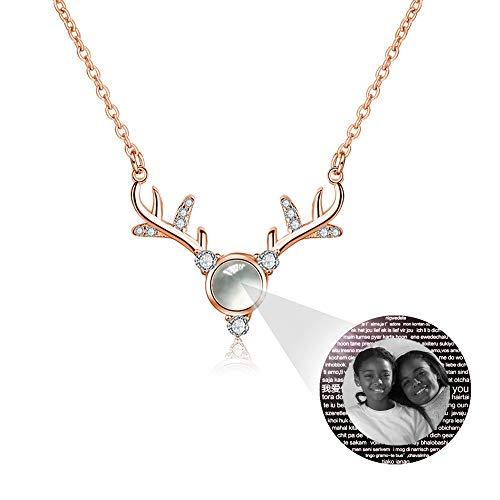 hjsadgasd Collar de Fotos Personalizado Collar proyectivo La Memoria del Amor Diferentes Idiomas Collares Redondos de ónix Collares para Parejas Mujeres