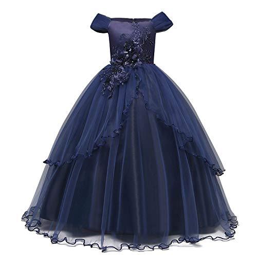 NNJXD Mädchen Applique Abschlussball-Kleider weg von der Schulter Hochzeit Geburtstag Partei Prinzessin lange Kleider Größe (160) 11-12 Jahre Dunkelblau