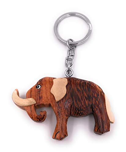 Onwomania Llavero Madera Mamut Animal Elefante Colmillos