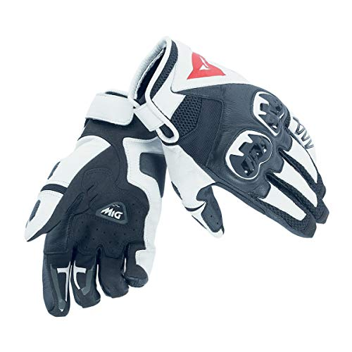 Dainese Mig C2 Gloves Guanti Moto Estivi in Pelle, Unisex - Adulto, Nero/Bianco/Nero, XL